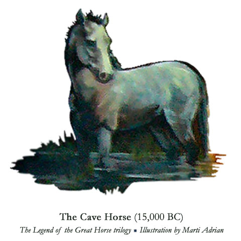 Cave Mare (20,000 BC) from Eclipsed by Shadow - Book 1 of The Legend of the Great Horse trilogy by John Royce. Illustration by Marti Adrian Gregory