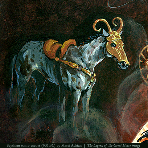Horse sacrificed in a Scythian tomb (700 BC) from Eclipsed by Shadow, Book #1 of THE LEGEND OF THE GREAT HORSE trilogy