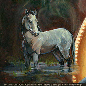 "The gray ""cave"" mare from 20,000 BC in THE LEGEND OF THE GREAT HORSE trilogy (Book 1: Eclipsed by Shadow)"