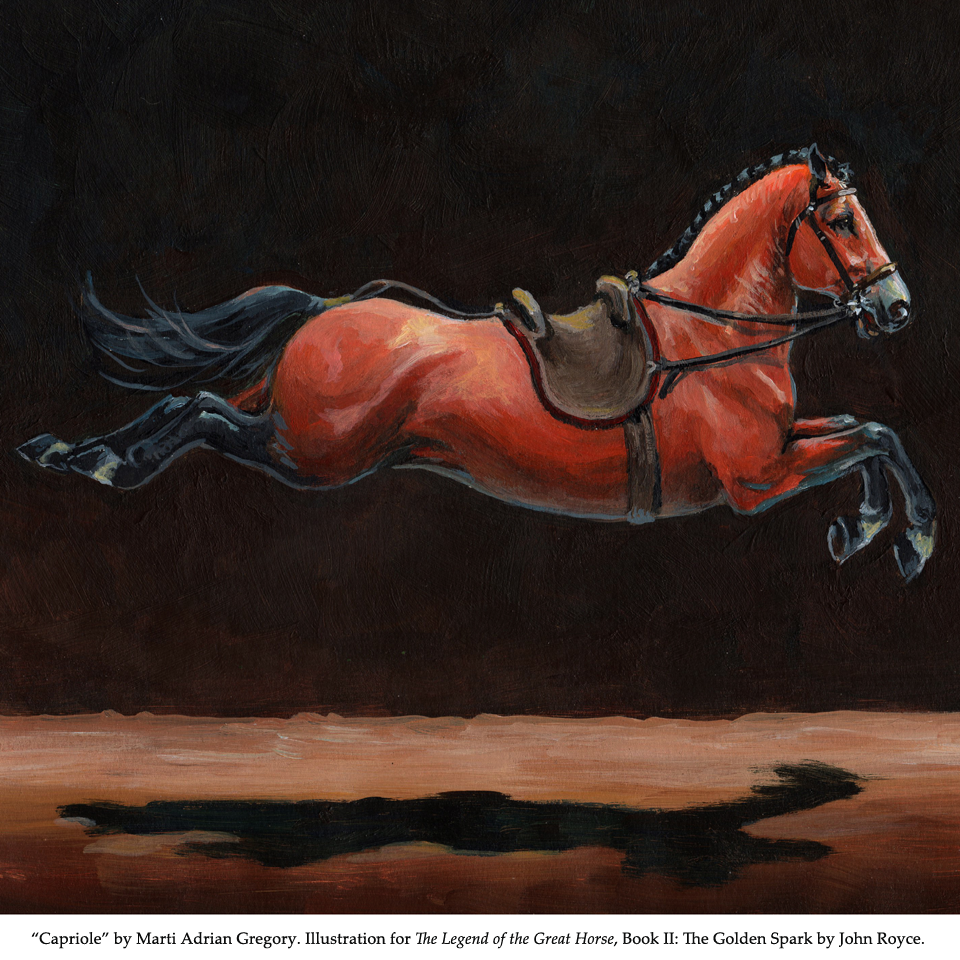 """Capriole"" by Marti Adrian Gregory, illustrating a horse character performing a Capriole in The Golden Spark, book 2 of The Legend of the Great Horse trilogy."